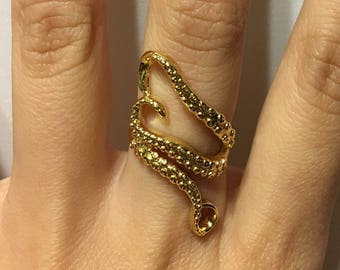 Gold Octopus Tentacle Adjustable Ring