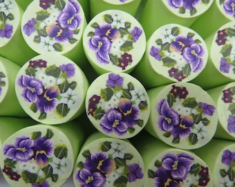 Polymer clay milefiore canes. Large, rich in details and consists of several flowers -  Romantic bouquet