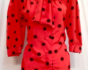 1970's Red And Black Polk A Dots Blouse