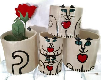 Valentines Day gift cat pottery planter: jardiniere with heart sweet kitty lover whimsical feline happy for crazy cat lady whimsical kitty