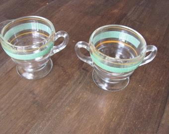 Vintage set Of Sugar Bowl And Matching Creamer
