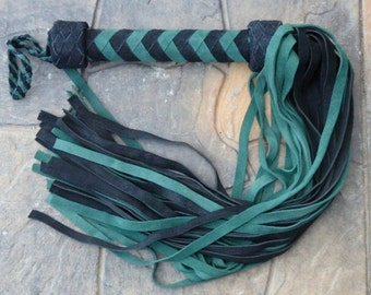 Gorgeous GREEN HORNET Leather Flogger - Cat of 9 Tails