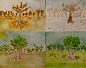 Seasonal Trees - Original watercolour ACEO 4 pack
