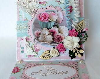 Women birthday card, handmade, flower, shabby, 3D card to ask theme