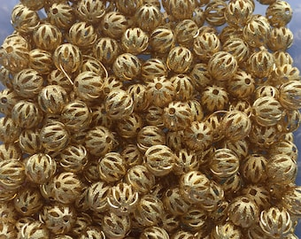 8mm or 10mm Gold Spacer Beads - Accent Beads - Gold accent Beads for jewelry making 8 mm 10 mm round beads