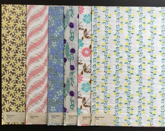 Vintage Gift Wrapping Paper, Assortment of Floral designs, 6 Sheets