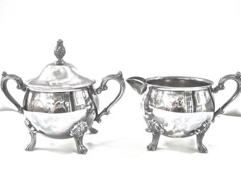 Vintage Silverplate Creamer Sugar Set with Lid and Feet • Romantic Victorian Bridal