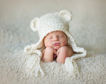 Download PDF crochet pattern 004 - Bear Earflap hat - Multiple sizes from newborn through age 4