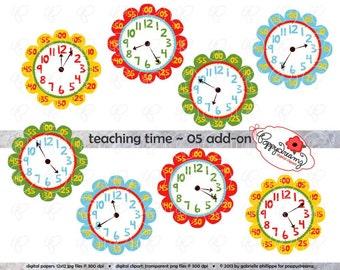 Teaching Time 05 ADD-ON Clipart: Digital Clip Art Pack (300 dpi) School Teacher Clip Art Clocks Colors Kindergarten Pre-K