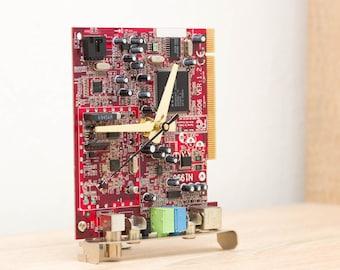 Desk clock, Recycled circuit board clock, computer geek clock, red circuit board c1096