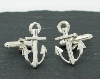Sterling Silver Anchor Cufflinks, Silver cufflinks, Classic cufflinks, mens jewellery, sailor gifts