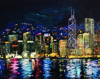 Powerful Hong Kong; original palette knife oil painting on canvas