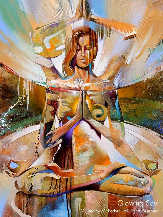 Yoga Art Abstract Yoga Print Modern Figure Painting-2098