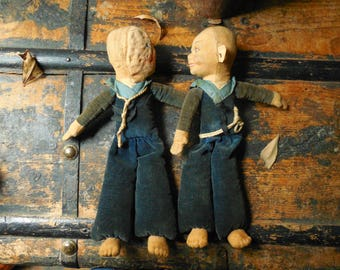Old Creepy Twin Dolls Halloween Decor, Vintage Halloween Props, Haunted House, Party & Art Supply,Dr. Jekyll - Mr. Hyde   /0666