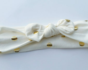 Ivory cream with gold polkadots jersey knit headband. Top knot headband, bow headband, baby headband