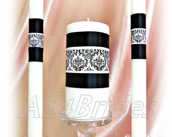Damask wedding candle set, Madison Damask wedding unity ceremony candles.