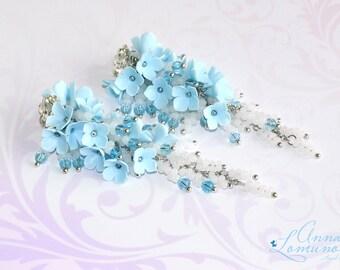 Light Blue Earrings Blue long earrings White Blue Earring Blue Flower Jewelry Girlfriend gift Blue bridesmaid earrings Blue Flower earrings