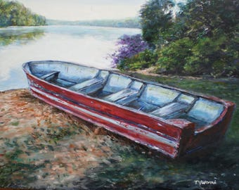 landscape painting of a rescue boat