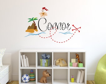 Personalized Pirate Name Wall Decal - Pirate Wall Decal - Boy Custom Name Decal - Baby Room Decor - Nursery Wall Decals Vinyl