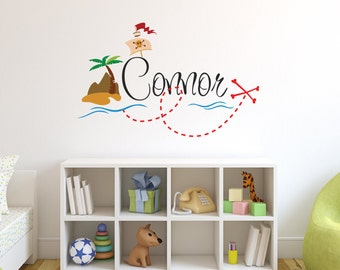 Delightful Personalized Pirate Name Wall Decal   Pirate Wall Decal   Boy Custom Name  Decal   Baby