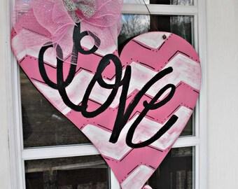 "Distressed Heart ""LOVE"" Wood Cut Out Door Hanger"