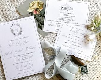 Venue Drawing, Venue Illustration, Sketched Wedding Venue with Custom Wedding Crest