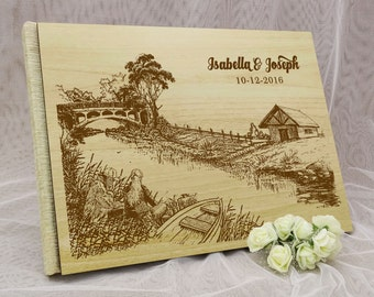 Custom Guestbook, Wedding Guest Book, Personalized Wedding Guest Book, Wood Wedding Guest Book, Guest Book Wedding GB77