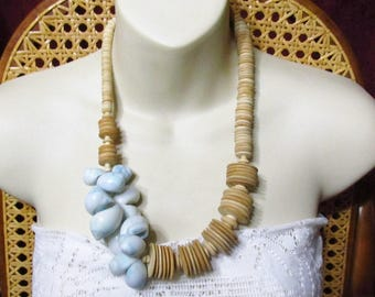 Blue seashells wood discs tribal beach wedding necklace.