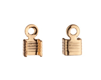Line Textured Square Fold-Over Gold Finished Brass fits 3mm Cord sold per pack of 30
