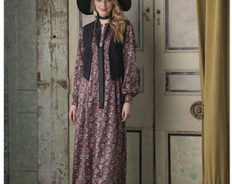 Simplicity 8165 Misses' Boho Chic Maxi Dress with Lined Vest and Tie, Misses 4 - 12 or 12 - 20