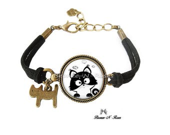 "Bracelet ""little black and white cat funny"" fantasy glass cabochon bronze jewelry"