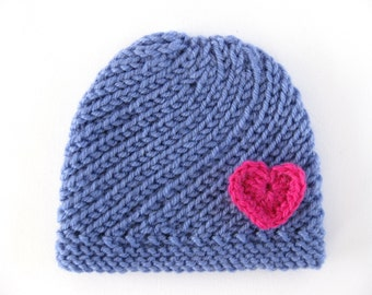 Instant Download PATTERN Knitted PREEMIE Spiral Hat with Crocheted Heart