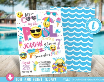 Emoji Pool Party Invitation Pool party birthday invitation Girl Emoji Pool Party party invitation Cool by the Pool Summer Swim Party