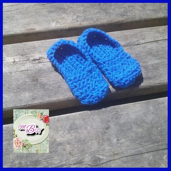 Kleinkind-Hausschuhe Größe 5/6 blau häkeln Acryl bereit