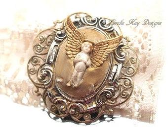 Shabby Frozen Charlotte Doll Angel Doll Brooch Romantic Gold Angel Jewelry Pin
