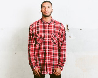 Men's Plaid Flannel Shirt . Vintage 90s Clothing Lumberjack Thick Shirt Oversize Plaid Shirt 1990s Boyfriend Gift Mens 90s Fashion . size XL