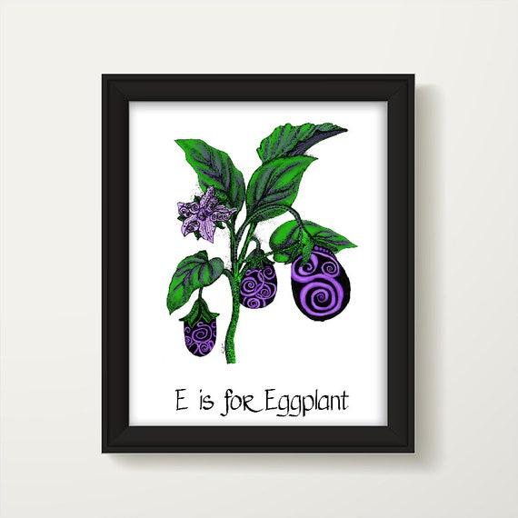 Kitchen Decor Eggplant Print Dining Room Decor Kitchen Wall
