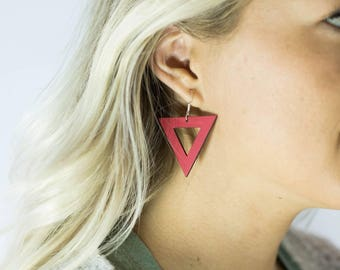 The Harper, triangle jewelry, weightless wood, lightweight earrings, weightless earrings, handmade earrings, triangle earrings.