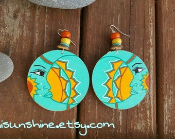 Luna Sol Hand Painted Earrings