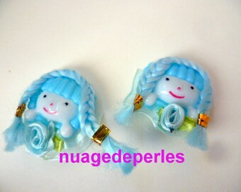 2 cabochons applique baby girl hair turban scrapbooking