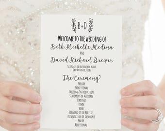 Wedding Programs PRINTED Programs Wedding Ceremony Programs