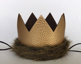 Sale! Limited Edition Where the Wild Things Are Gold Brown Fur Crown, Max Crown, Wild One 1st Birthday Faux Leather Wild One Crown,