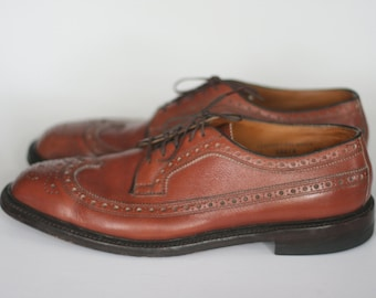 vintage nettleton brown leather wingtip shoes mens size 12 AAA/A