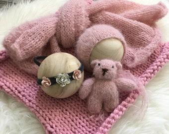 Pink Five Piece Set, Photo Prop,Photography Prop,Newborn Prop,Newborn Pictures,Baby Bonnet,BabyBear