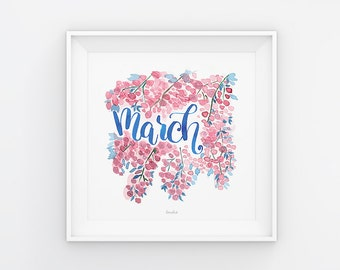 March lettering with watercolor flowers, download, print template, printable, 21 x 21 cm, calendar, square, seasonal, painting