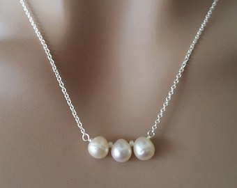 THREE Teardrop White Freshwater Pearl Necklace - Bridesmaid Jewelry, Wedding Gift