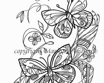 ADULT COLORING PAGE; butterflies, flowers, garden, Zentangle, doodle, digital download,