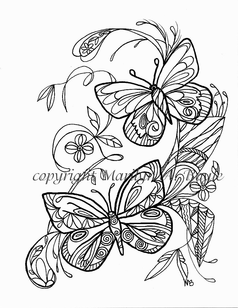 ADULT COLORING PAGE; butterflies, flowers, garden, Zentangle, doodle ...