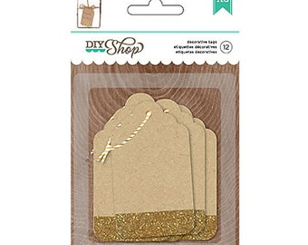 Small Brown Gift Tags with Gold Glitter, Gold Favor Tags, Gold Parcel Tags, Gold Wedding Favor Tags, Present Tags, Gold Glitter Tags
