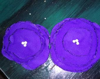 Purple flower hair slides